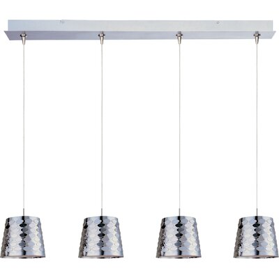 Wildon Home ® Minx 4 Light RapidJack Linear Pendant with Crystal Glass Shade in Satin Nickel
