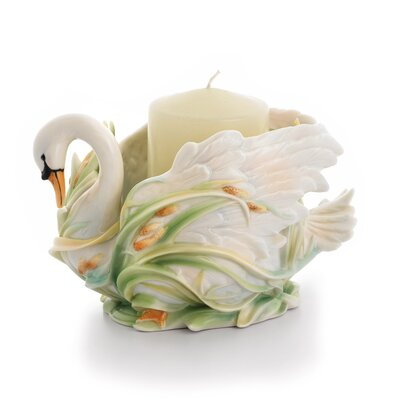 Franz Collection Swan Lake Porcelain Candle Dish