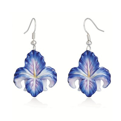 Franz Collection Iris Flower Earrings in Blue