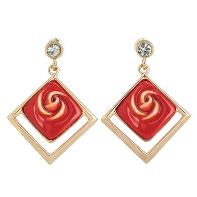 Franz Collection Red Rose Earrings
