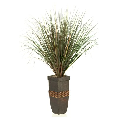 D & W Silks Onion Grass in Square Wooden Planter