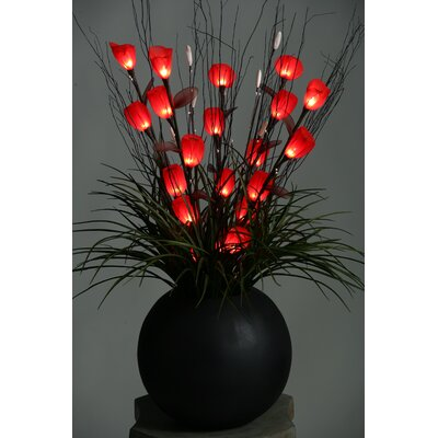 D & W Silks Lighted Tulips in Resin Ball Planter