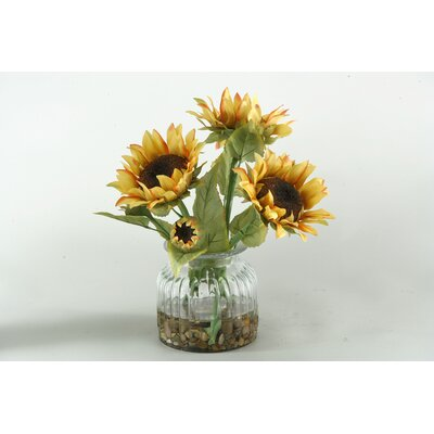 D & W Silks Sunflowers in Glass Vase
