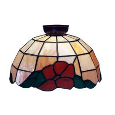 Domus Lighting Flush Mount with Red and Green Floral and Leaf Design