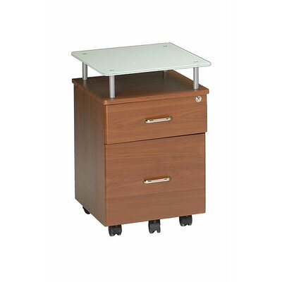 Mayline Group Eastwinds 2-Drawer Mobile Vision Glass Top Pedestal