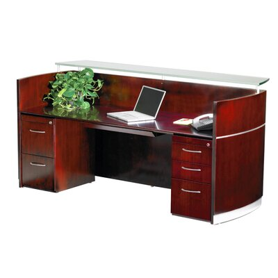 "Mayline Group Napoli 87"" W Reception Desk with 2 Pedestals"