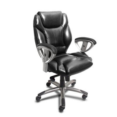 Mayline Group 300 Series Mid-Back Leather Swivel / Tilt Office Chair with Arms