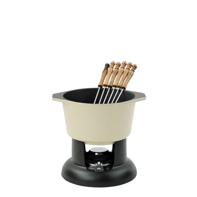 Chasseur Classic Fondue Set with 6 Forks in Cream