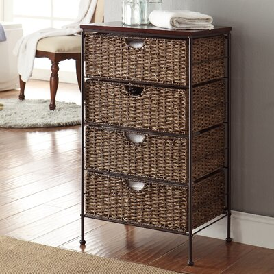 Farmington 4 Drawer Maize Weave Chest with Wood Top
