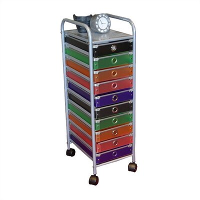 4D Concepts 10 Drawer Multi-Colored Rolling Storage Tower