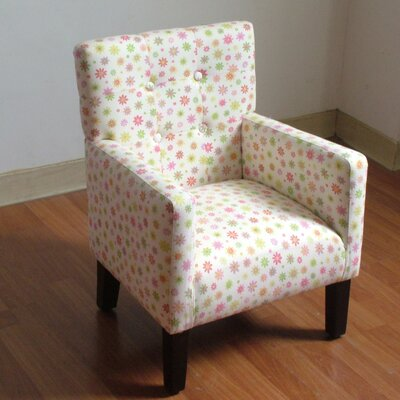Floral Tufted Kid's Chair and Ottoman Set