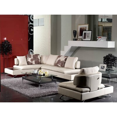My Suite Home Valery Leather 3 Seater with Left Chaise and Single Arm Chair