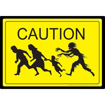 Caution Zombies Tin Sign Vintage Advertisement