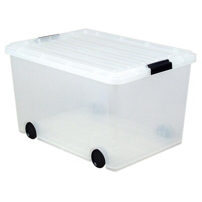 "Iris Storage Box, w/ Wheels, 56 Quart, 15-3/4""x21-3/4""x12-7/8"", Clear"
