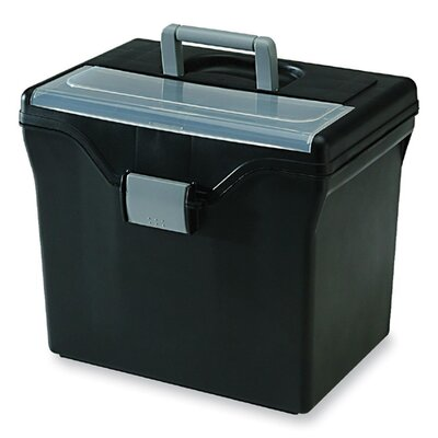 File Box, w/ Organizer Top, Holds Letter Folders, Black