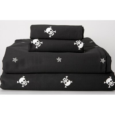 Sin in Linen 300 Thread Count Black Skullstar Sheet Set