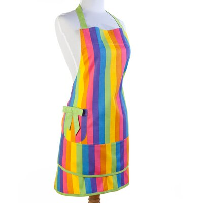 Sin In Linen Colorful Rainbow Print Apron