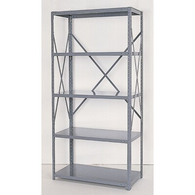 Republic Industrial Clip Open Shelving: Beaded Post Units with 5 Shelf Frames - Starter Unit