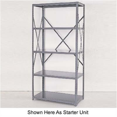 Republic Industrial Clip Open Shelving: Beaded Post Units with 5 Shelf Frames; Adder Unit