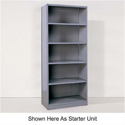 Republic Industrial Clip Closed Shelving: Beaded Post Units with 6 Shelves; Adder Unit