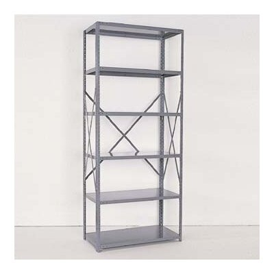 Republic Industrial Clip Open Shelving: Beaded Post Units with 6 Shelf Frames; Adder Unit