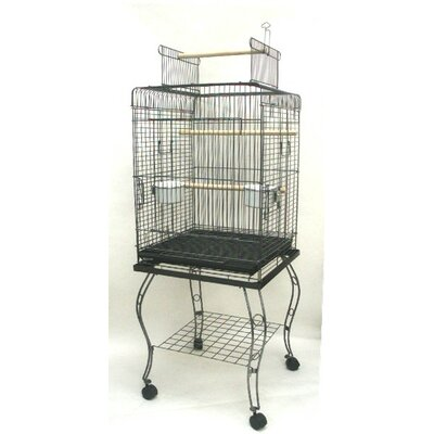 Open Top Parrot Cage with Stand