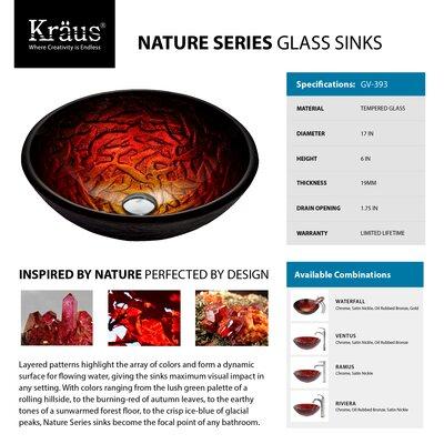 Kraus Nix Glass Vessel Sink with Ventus Faucet