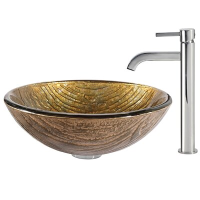 Terra Glass Vessel Sink with Ramus Faucet - C-GV-395-19mm-1007