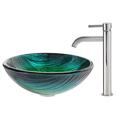Nei Glass Vessel Sink with Ramus Faucet - C-GV-391-19mm-1007