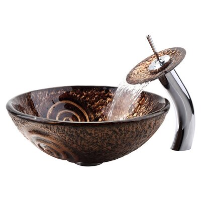 Luna Vessel Sink and Waterfall Faucet - C-GV-650-19mm-10