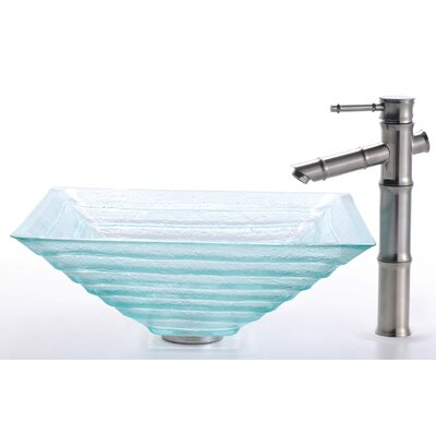 Kraus Square Clear Alexandrite Glass Sink and Bamboo Faucet