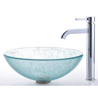 Broken Glass Vessel Sink and Ramus Faucet - C-GV-500-12mm-1007
