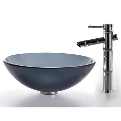 Kraus Glass Vessel Sink and Bamboo Faucet