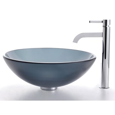 Glass Vessel Sink and Ramus Faucet - C-GV-104FR-12mm-1007