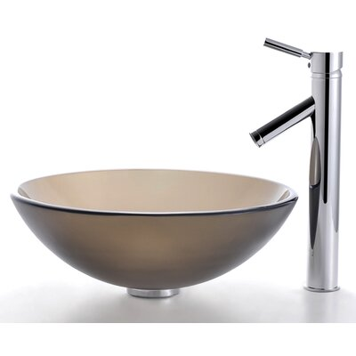 Kraus Frosted Brown Glass Vessel Sink and Sheven Faucet - C-GV-103FR-12mm-1002