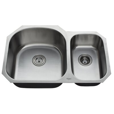 "Kraus 32"" Undermount 70/30 Double Bowl Kitchen Sink with 14.9"" Faucet and Soap Dispenser"
