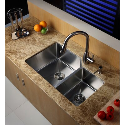 "Kraus Undermount 32"" Double Bowl 70/30 Kitchen Sink with Faucet and Soap Dispenser"