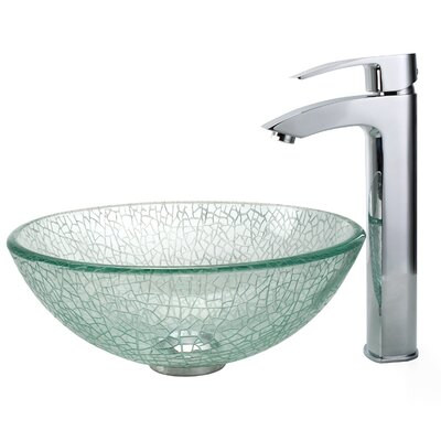 "Kraus Broken Glass 14"" Vessel Sink and Visio Bathroom Faucet in Chrome"