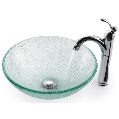 Kraus Broken Glass 16.5&quot; Vessel Sink and Rivera Faucet