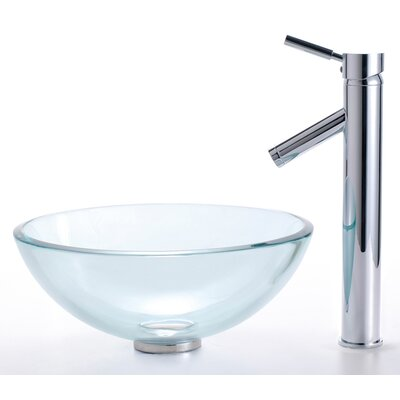 Small Clear Glass Bathroom Sink and Sheven Faucet - C-GV-101-14-12mm-1002