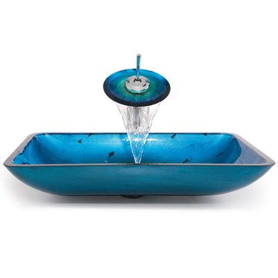 Glass Combinations Galaxy Rectangular Vessel Bathroom Sink and Faucet - C-GVR-200-RE-10 / ...
