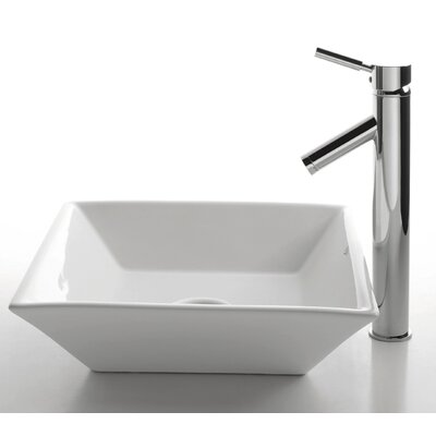 Kraus 16.5&quot; Ceramic Square Vessel Sink in White