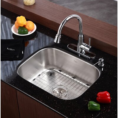 "Kraus 23"" x 17.75"" 4 Piece Single Bowl Kitchen Sink Set"