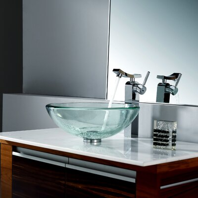 Kraus Clear Sink and Single Hole Faucet with Single Handle