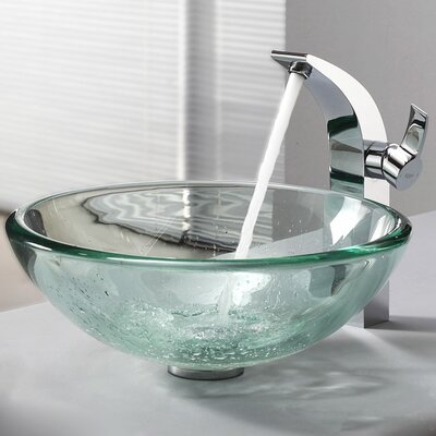 Kraus Clear Glass Vessel Sink and Single Hole Faucet with Single Handle