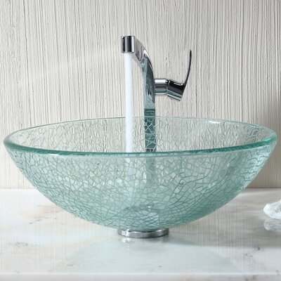 Kraus Bathroom Combos Broken Glass Vessel Bathroom Sink with Single Handle Single Hole Faucet