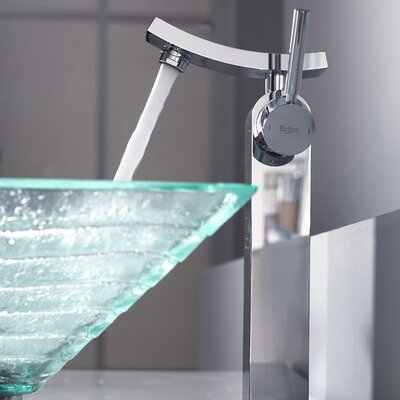 Kraus Bathroom Combos Alexandrite Glass Vessel Bathroom Sink with Single Handle Single Hole Faucet