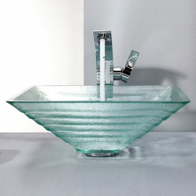 Kraus Clear Alexandrite Glass Vessel Sink and Single Hole Faucet with Single Handle