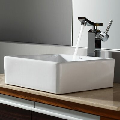 Bathroom Combos Square Ceramic Bathroom Sink with Single Handle Single Hole Faucet - ...