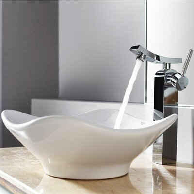 Bathroom Combos Tulip Ceramic Bathroom Sink with Single Handle Single Hole Faucet - ...